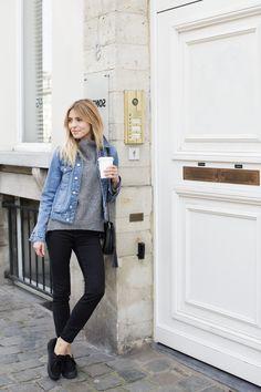 trampki – Vans on eobuwie.pl denim jacket / dżinsowa kurtka – Topshop wool sweater / wełniany sweter – prototyp MLE Collection leather bag / skórzana torebka – Tallinder jeans / spodnie – ONLY