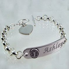 Medical Alert Bracelets - Silver Plated Ladies Rolo Link & Toggle Medical ID Bracelet