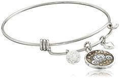Disney Stainless Steel Catch Bangle with Silver Plated Cinderella Carriage Charm If You Keep Believing the Dreams You Wish Will Come True and Crystal Bead Charm Bangle Bracelet -- Continue to the product at the image link. (This is an affiliate link and I receive a commission for the sales)