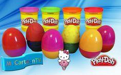 Play Doh colored Eggs Kinder Surprise Toys Cars Hello Kitty Huevos Sorpresa