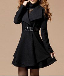 $19.45 Solid Color Noble Style Worsted Turn-Down Collar Long Sleeves Coat For Women