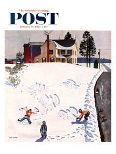 """Snow Angels"" Saturday Evening Post Cover, January 10, 1953 by John Falter. Giclee print from Art.com."