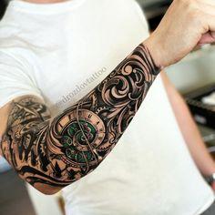 Spiral Clock & Filigree Spiral clock & filigree half sleeve by Vladimir Drozdov, a travelling artist.<br> Spiral clock & filigree half sleeve by Vladimir Drozdov, a travelling artist. Forarm Tattoos, Tribal Tattoos For Men, Forearm Sleeve Tattoos, Skull Sleeve Tattoos, Best Sleeve Tattoos, Body Tattoos, Clock Tattoo Sleeve, Tattoo Clock, Turtle Tattoos