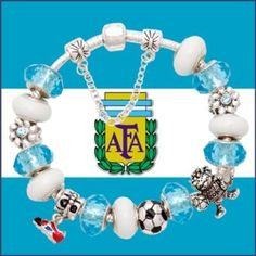 Silver Argentina Football bracelet for Pandora Sale: $ 63.00