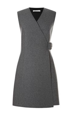 This grey wool blend sleeveless wrap dress from J. Anderson features a v-neck and tonal buckle detail at the side.Buckle wool, polyester, polyurethane, other fibersLined with slip insertMade in UKPlease note: This item is Final Sale. Wool Dress, Dress Skirt, Dress Up, Office Dresses, Dresses For Work, Work Attire, Winter Dresses, Preppy Outfits, Designer Dresses