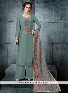 Moss grey palazzo kameez with dupatta. Work - Heavy floral embroidery on kameez and dupatta. Matching bottom and dupatta comes with this.Please Note: The first wash of the garment should always Hand Embroidery Dress, Embroidery Suits, Designer Wear, Designer Dresses, Heavy Dupatta, Palazzo Suit, Salwar Kameez, Churidar, Designer Salwar Suits
