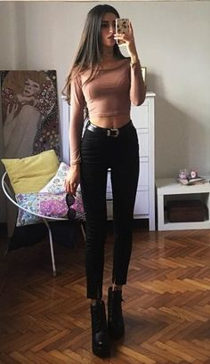Heart ring choker necklace with long sleeve crop top, black skinny jeans & lace up platform ankle boots in black by mari_malibu - #grunge #softgrunge #fashion #streetstyle