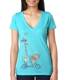 Women's Lion and Giraffe Bicycle TShirt, Love, Bike Romantic Ride, Women's V-Neck, Tahiti Blue Available S M L XL 2XL. $24.00, via Etsy.