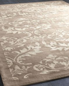 "Too expensive. ""Rococo Shine"" Rug at Horchow.  I like the pattern but am conflicted about the weave."