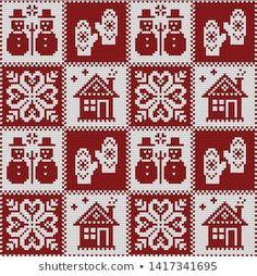 Portfólio de Gala titmouse no Shutterstock Xmas Cross Stitch, Cross Stitch Needles, Cross Stitch Embroidery, Cross Stitch Patterns, Sweater Knitting Patterns, Knitting Designs, Thread Crochet, Crochet Stitches, Cross Stitch Cushion