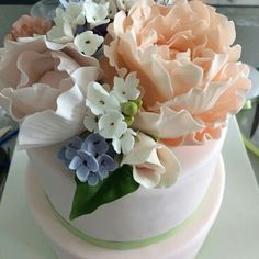 2 tiered sugar flower cake @sweetplantations