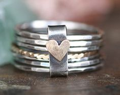 Personalized stackable stacking rings...hand stamped sterling