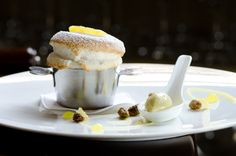 Preserved Lemon Soufflé, Pistachio Ice Cream, Candied Pistachios, and Candied Lemon Zest