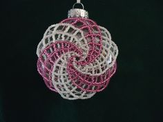 In consideration of Breast Cancer Awareness Month, I made this ornament in pink and white. God bless those who have been struck with this disease and may they have a speedy recovery.  Beaded ornament: Spiral flat ornament in pink and white. $10 Facebook: Tiffanybeadsjewelry ****This ornament was made using a pattern purchased from Violetbead at Etsy.com**** Unique Christmas Ornaments, Christmas Tree Earrings, Beaded Ornaments, Christmas Bulbs, White God, Beads And Wire, Breast Cancer Awareness, Consideration, Cure