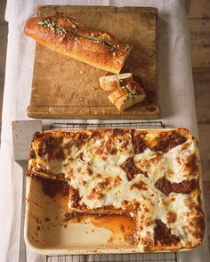 In this hearty lasagna, an herbed ricotta mixture and Bolognese sauce, thick with ground sirloin and veal, are layered with noodles and baked. This lasagna was designed for a deep-dish baking pan. You can use a standard nine-by-thirteen-inch baking pan, but you will have extra sauce.