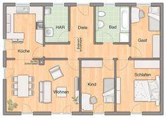 Der Bungalow 110   Grundriss Erdgeschoss   Ihr Town U0026 Country Massivhaus .