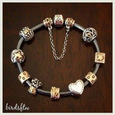 Pandora Two Tone Bracelet Rings Necklace Jewelry Beads