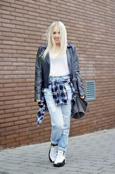 Casual every day look, wearing asos boyfriend jeans, jordan trainers, primark check shirt and french connection leather biker jacket