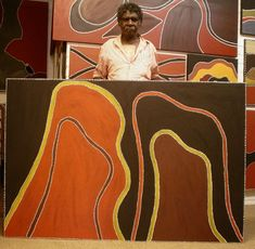 ochre aboriginal painting - strong colours thick texture