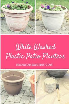 White Washing Plastic Planters Give your plastic planters a prettier look by applying a simple wash Plastic Plant Pots, Plastic Flower Pots, Flower Planters, Paint Garden Pots, Painting Plastic, Outdoor Flowers, White Chalk Paint, Planting Flowers, Potted Flowers