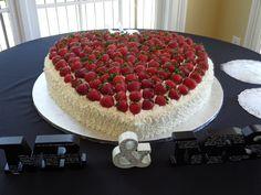 Strawberry Heart Wedding Cake for Christen and Jake!  Chocolate fudge cake with cream cheese icing and fresh strawberries........YUM!