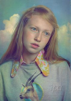 """"""" Portrait of Girl with Gazelle Shirt""""  3rd Place Fine Art Portrait Professional winner of 2014 IPA Awards  ©Todd Baxter"""