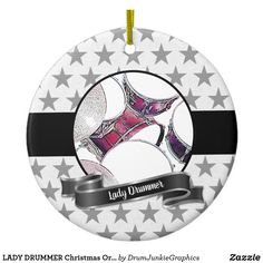 LADY DRUMMER Christmas Ornament Snare Drum Xmas