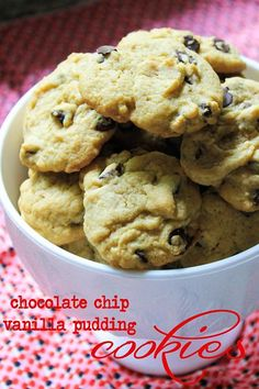 Chocolate Chip Vanilla Pudding Cookies--My changes: trade coconut oil for butter, reduce flour to 1 1/4 cups, add 1 cup almond meal. Refrigerate dough for about an hour. Bake 10 minutes.
