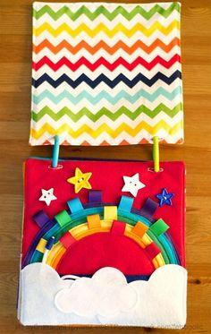 Today I Felt Crafty: Rainbow Quiet Book 2 Diy Quiet Books, Baby Quiet Book, Felt Quiet Books, Quiet Toddler Activities, Toddler Books, Book Activities, Sensory Book, Quiet Book Patterns, Fidget Quilt