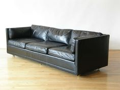 Black Leather Sofa | From a unique collection of antique and modern sofas at http://www.1stdibs.com/furniture/seating/sofas/