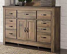 Trinell Queen Panel Bed with Dresser Leather Furniture, Wood Furniture, Bedroom Furniture, Fireplace Tv Stand, Brown Cabinets, Home On The Range, Headboard And Footboard, Reclaimed Barn Wood, Panel Bed