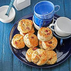 Peppered Bacon, Green Onion, and Buttermilk Scones    These tempting savory scones are full of all our favorites: bacon, garlic, Gruyere cheese, and green onions. We love them cracked open warm with a swipe of butter.