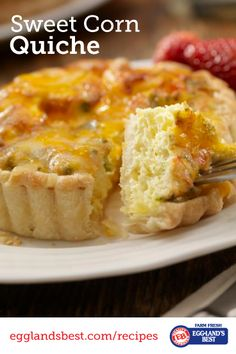Eggland's Best Sweet Corn Quiche is great for dinner! | Savory, Cheesy | Comfort Food Lightened up | Only 227 Calories | Great recipe from @egglandsbest .client