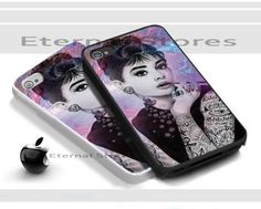 Audrey Hepburn Tattooed,For iPhone 4/4s Black Case Cover | Eternalstores - Accessories on ArtFire
