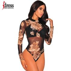 IDress Sexy Club Jumpsuits Lady Bodysuit Women Rompers Bodycon Jumpsuit Long  Sleeve Mesh Bodysuit Sheer Trutleneck ffcd88912