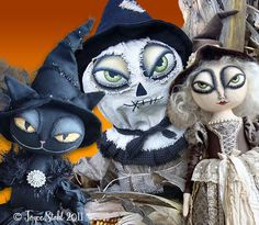 Art by Joyce Stahl~Enchanted Productions Halloween Arts And Crafts, Halloween Quilts, Halloween Doll, Halloween Projects, Halloween 2018, Halloween Outfits, Holidays Halloween, Spooky Halloween, Whimsical Halloween