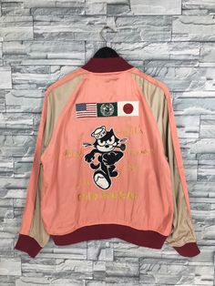 Excited to share the latest addition to my #etsy shop: Sukajan FELIX THE CAT Souvenir Jacket Large Vintage 80's Sukajan Japanese World Famous Cat Usa Embroidery Satin Pink Jacket Size L #clothing #jacket #sukajanjapandragon #tigersukajanjacket #vintagesilksukajan #mensukajanjacket #sukajanbombercoat #vintagesukajan80s #sukajanjapanjacket