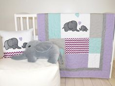 Elephant Baby Quilt  Gray Purple Teal  Crib by Customquiltsbyeva