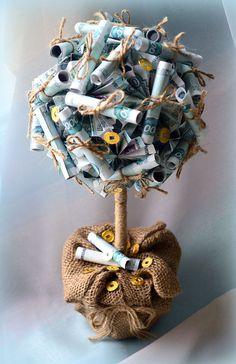 Топиарий денежного дерева из купюр своими руками
