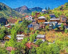 Colorful Houses Old Miners Shacks Bisbee Arizona - Higgledy Piggledy Town by Rebecca Korpita - Colorful Houses Old Miners Shacks Bisbee Arizona - Higgledy Piggledy Town Digital Art - Colorful Houses Old Miners Shacks Bisbee Arizona - Higgledy Piggledy Town Fine Art Prints and Posters for Sale