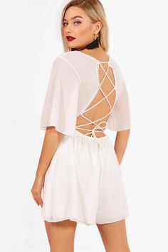 boohoo Paige Lace Up Back Playsuit White Romper, Playsuit Romper, Boohoo, Cold Shoulder Dress, Lace Up, Rompers, Shopping, Collection, Dresses