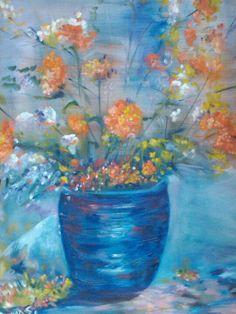"Original Fine Art by TuckerDemps, #impressionist, #art ""Indigo"", original, oil on canvas, 16x20. For sale."
