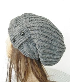 Slouchy Beanie  Womens hat   Slouch  Hat with Button  by Ebruk, $38.00