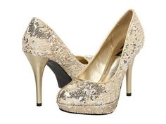 Type Z Tasia High Heels - Gold Sequin