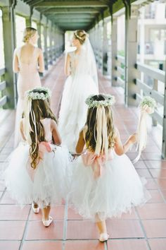 Hair wreaths!  Angelic flower girls: http://www.stylemepretty.com/little-black-book-blog/2014/11/14/classic-langham-pasadena-wedding/ | Photography: Onelove - http://www.onelove-photo.com/