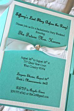 Breakfast At Tiffany's #Bachelorette Invitations