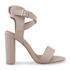 Nude PU With Crossover Ankle Tie Sandal - Evening   YDE Nude Sandals, Nude Heels, High Heels, South African Fashion, Toe Shape, Crossover, Block Heels, Open Toe, Footwear