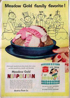 1956 Meadow Gold Neapolitan ad    w/ Mary Blair Ice Cream carton pictured