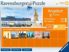 Happy Birthday Queen Elizabeth!!! Zum 90. Geburtstag der Queen gibt es heute bis einschließlich Freitag ein gratis Spotlight in der Ravensburger Puzzle App. Gleich loslegen:  iTunes: https://itunes.apple.com/de/app/id657342303?mt=8&ign-mpt=uo%3D4  Amazon: http://www.amazon.de/gp/product/B00NV4IOFU  Google Play: https://play.google.com/store/apps/details?id=com.ravensburgerdigital.puzzle