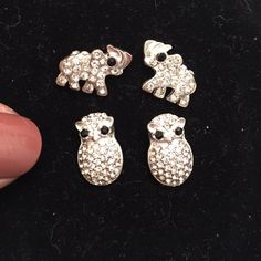 Animal Earrings!  2 pairs! 1 elephants, 1 owls, both silver with rhinestones, both have disc backs. Super sparkly! Like new  Jewelry Earrings